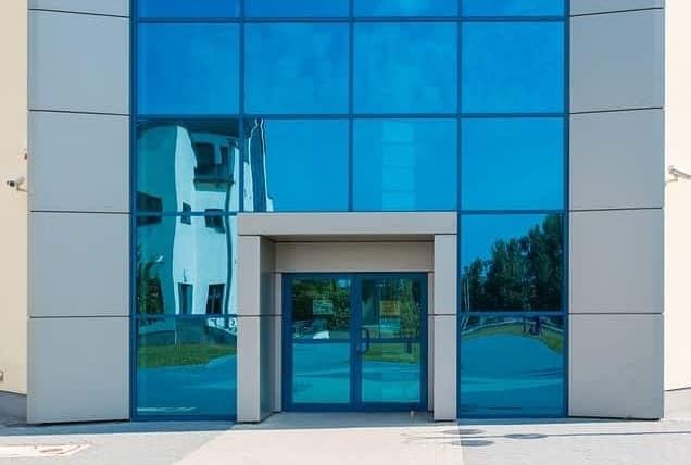 Mirrored doors - building